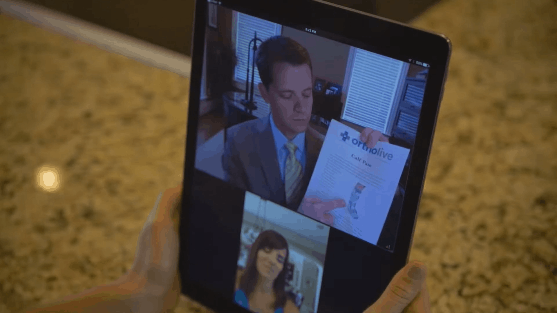 Patient visits physician using OrthoLive telemedicine