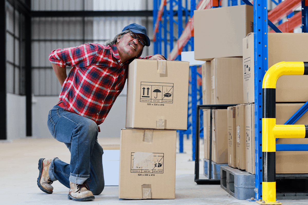 Warehouse working experiences Musculoskeletal disorder, or an injury to his back