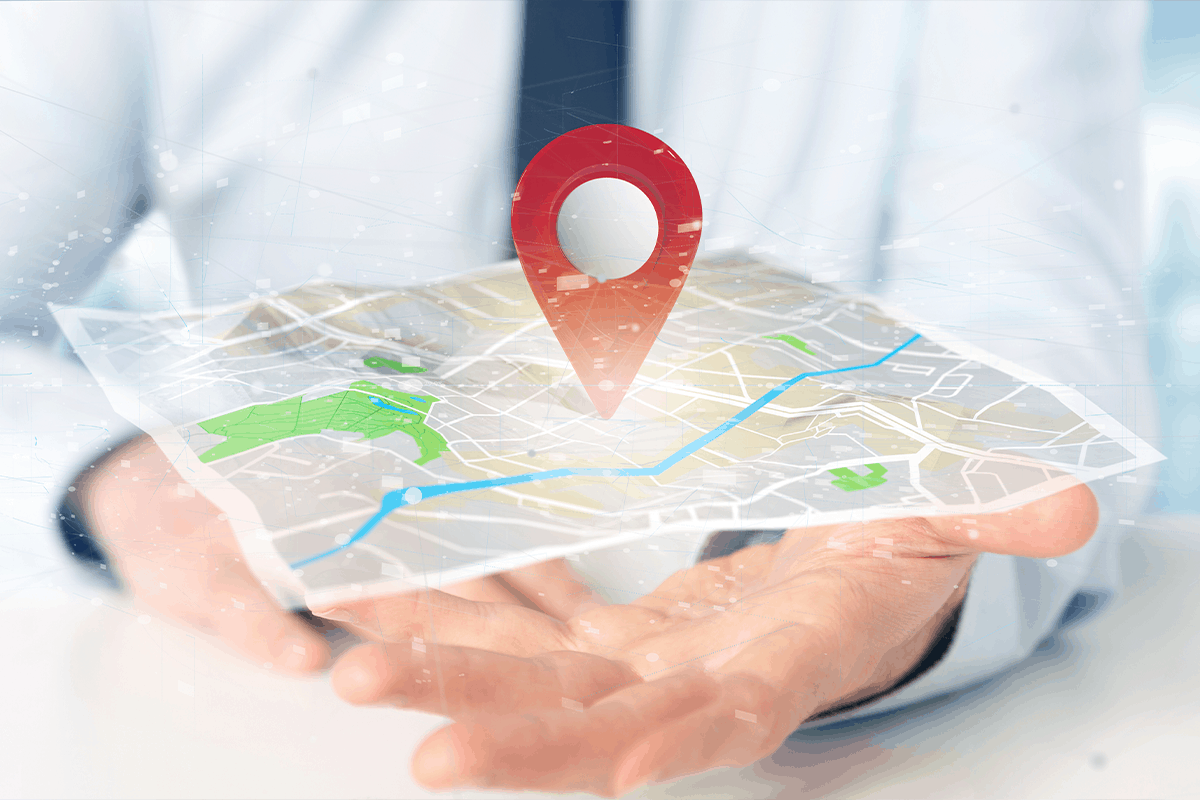 Hand holding image of an online map