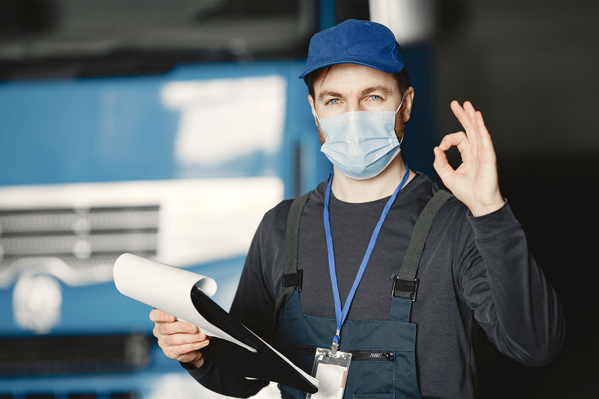 Work supervisor practices safe COVID-19 guidelines